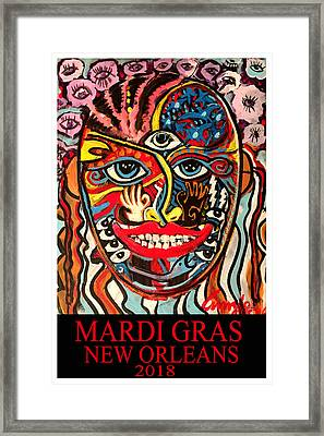 Framed Print featuring the painting Mardi Gras 2018 by Amzie Adams