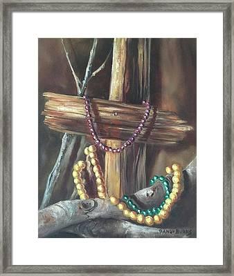Framed Print featuring the painting Mardi Gras Beads And Hurricane Katrina by Randol Burns