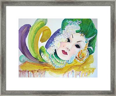 Framed Print featuring the painting Mardi Gras Elegance by AnnE Dentler
