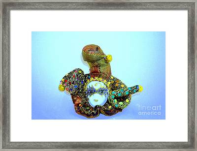 Mardi Gras Jester No 2 Framed Print by Mary Deal
