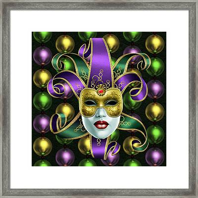 Mardi Gras Mask And Beads Framed Print