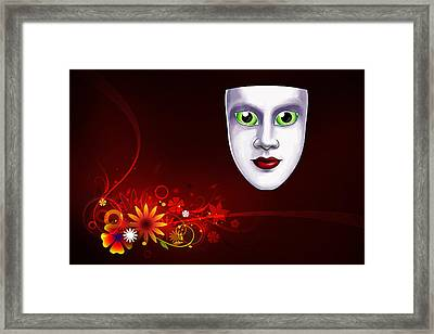 Mardi Gras Mask Red Vines Framed Print