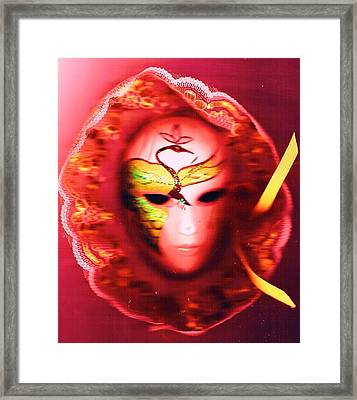 Mardi Gras Mystery Girl Revisited Framed Print by Anne-Elizabeth Whiteway
