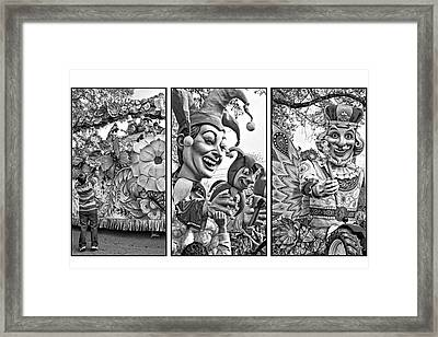 Mardi Gras Triptych - Let The Good Times Roll Bw Framed Print by Steve Harrington