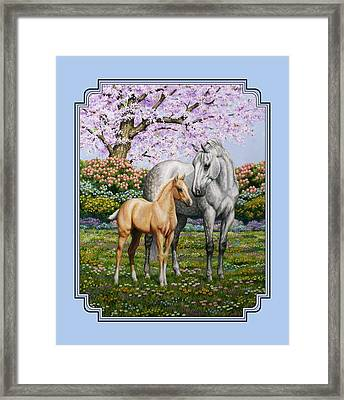 Mare And Foal Pillow Blue Framed Print