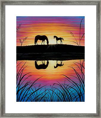 Mare And Foal Sunrise Framed Print by Yvonne Hazelton
