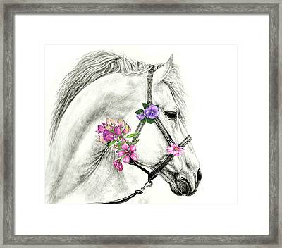 Mare With Flowers Framed Print