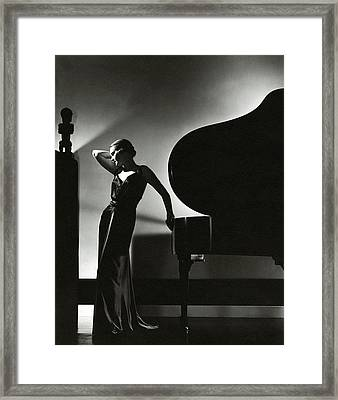 Margaret Horan Posing Beside A Piano Framed Print