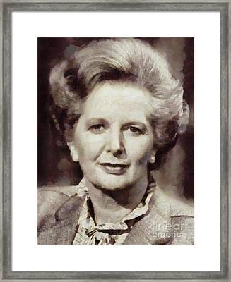 Margaret Thatcher, Prime Minister Of The United Kingdom By Sarah Kirk Framed Print by Sarah Kirk