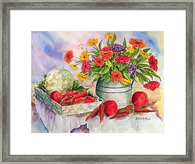 Margie's Veggies Framed Print by Barbel Amos