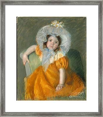 Margot In Orange Dress Framed Print by Celestial Images