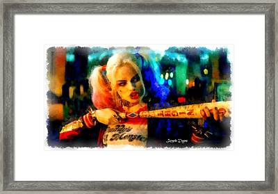 Margot Robbie Playing Harley Quinn  - Aquarell Style -  - Da Framed Print by Leonardo Digenio