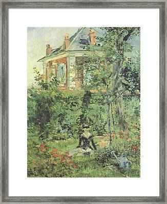 Marguerite In The Garden At Bellevue Framed Print by Edouard Manet