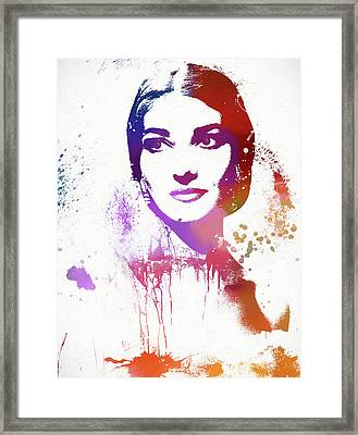 Maria Callas Paint Splatter Framed Print