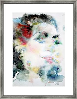 Maria Callas - Watercolor Portrait.4 Framed Print by Fabrizio Cassetta