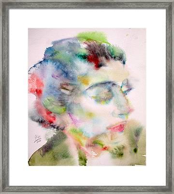 Maria Callas - Watercolor Portrait.5 Framed Print by Fabrizio Cassetta