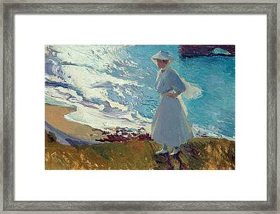 Maria On The Beach At Biarritz Or Contre-jour Framed Print