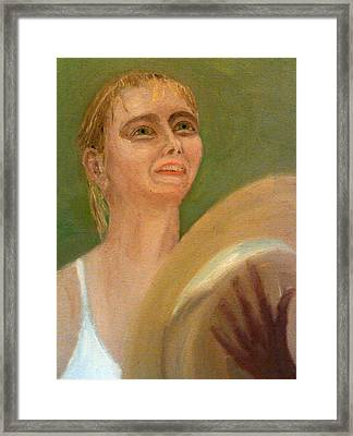Maria Sharapova In Light Reflected From The Wimbledon Trophy Framed Print by Peter Gartner