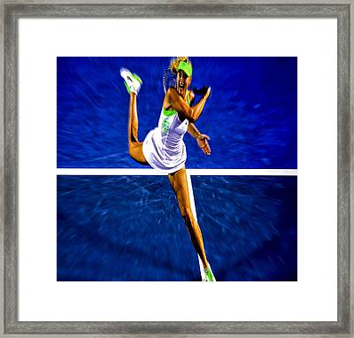 Maria Sharapova In Motion Framed Print by Brian Reaves