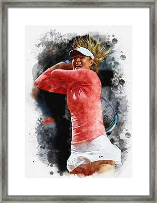 Maria Sharapova Of Russia In Action Framed Print by Don Kuing