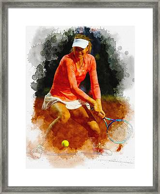 Maria Sharapova Of Russia In Action During Her Match Against Vic Framed Print