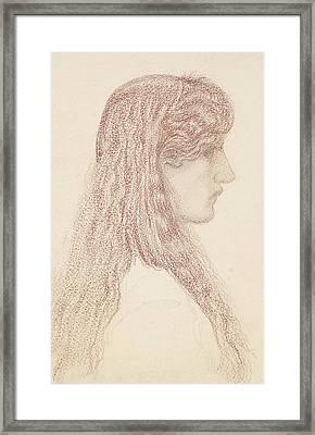Maria Zambaco Profile Study Framed Print by Edward Burne-Jones