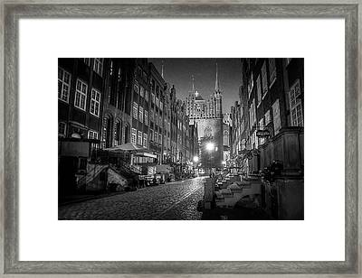 Mariacka By Night In Black And White Framed Print