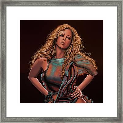 Mariah Carey Painting Framed Print by Paul Meijering