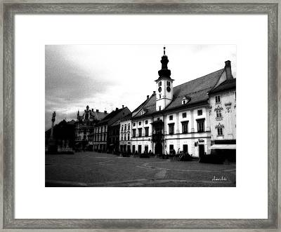 Maribor Square Black And White Framed Print