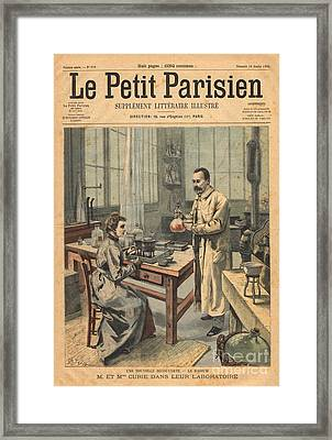 Marie And Pierre Curie In Laboratory Framed Print by Science Source