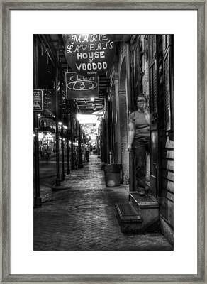 Marie Laveau's House Of Voodoo At Night In Black And White Framed Print by Greg Mimbs