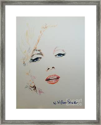 Marilyn, Charcoal And Oil Pastels Framed Print