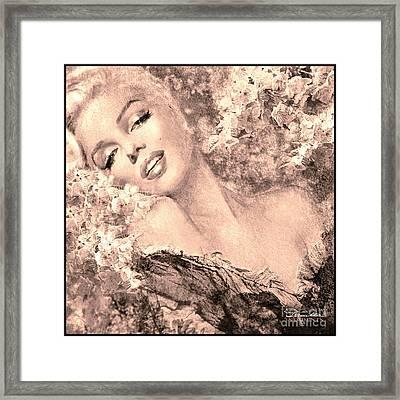 Marilyn Cherry Blossom, B Sepia Framed Print