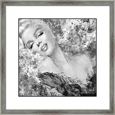 Marilyn Cherry Blossom Bw Framed Print