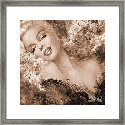 Marilyn Cherry Blossoms, Sepia Framed Print
