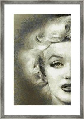 Marilyn Face Off By Mary Bassett Framed Print by Mary Bassett