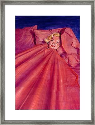 Marilyn In Bed Framed Print by Ken Meyer jr