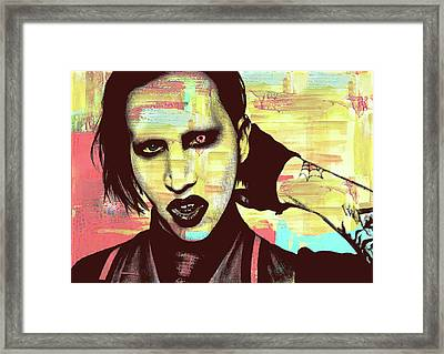 Marilyn Manson - Abstract Background Framed Print by Alexey Bazhan