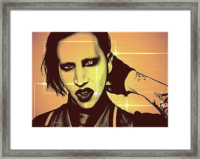 Marilyn Manson - Color Abstract Background Framed Print by Alexey Bazhan