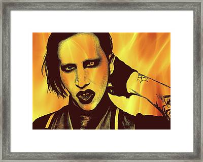Marilyn Manson -  Fire Background Framed Print by Alexey Bazhan