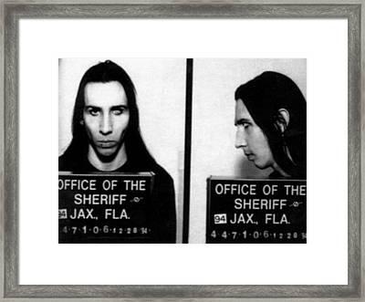 Marilyn Manson Mug Shot Horizontal Framed Print by Tony Rubino