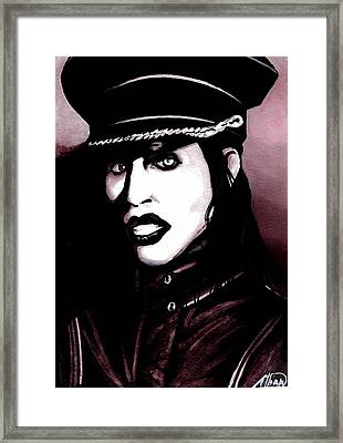 Marilyn Manson Portrait Framed Print by Alban Dizdari