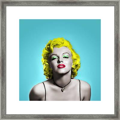 Marilyn Monroe And Blue Framed Print