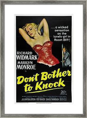 Marilyn Monroe And Richard Widmark In Don't Bother To Knock Framed Print
