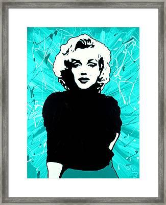 Marilyn Monroe Blue Green Aqua Tint Framed Print