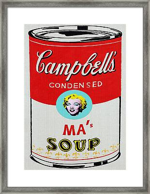 Marilyn Monroe Campbell's Soup Framed Print by Charlie Ross