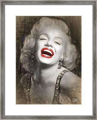 Marilyn Monroe Pencil Drawing Framed Print by Quim Abella