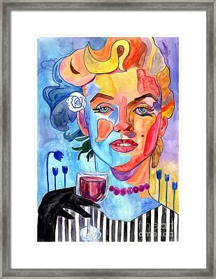 Marilyn Monroe Drinking Wine Framed Print
