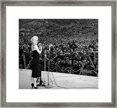 Marilyn Monroe Entertaining The Troops In Korea Framed Print