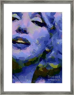 Marilyn Monroe In Blue Framed Print by Dragica Micki Fortuna
